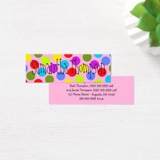 Mehrfarbiges Punkt-Kinderkontakt-Info Mini Visitenkarte