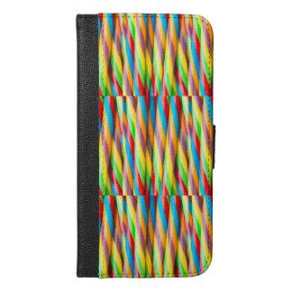 Mehrfarbiges Streifen-Muster iPhone 6/6s Plus Geldbeutel Hülle