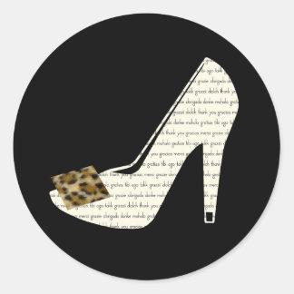 Mehrsprachig danke Leopard-Druck-Schuh-Aufkleber Runder Aufkleber