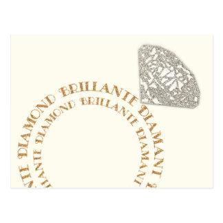 Mehrsprachige Diamant-Ring-Typografie-Postkarte Postkarte