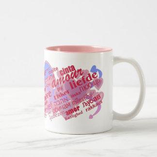 Mehrsprachige Liebe Zweifarbige Tasse