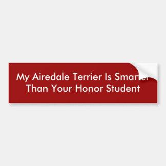 Mein Airedale Terrier ist SmarterThan Ihre Ehre S… Autoaufkleber