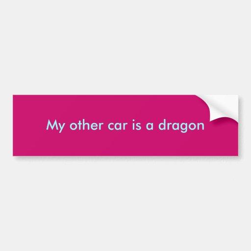 Mein anderes Auto ist ein Drache Auto Aufkleber