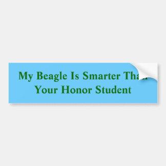 Mein Beagle ist intelligenter als Ihr Ehrenstudent Autoaufkleber