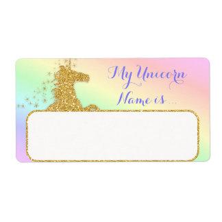 Mein Einhorn-Name ist Aufkleber-Regenbogen u. Gold Versandetiketten
