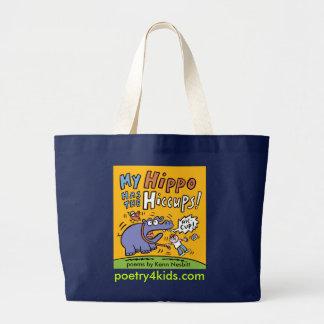 Mein Flusspferd hat die Schluckauf-Buch-Tasche Jumbo Stoffbeutel