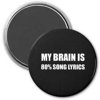 Mein Gehirn ist ein 80 Prozent-Lied-Texte Runder Magnet 7,6 Cm