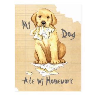 Mein gelber Labrador aß meine Hausaufgaben Postkarte