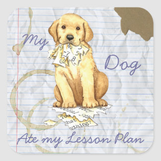 Mein gelber Labrador aß meinen Lektions-Plan Quadratischer Aufkleber