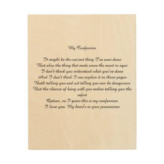 Mein Geständnis Holzdruck