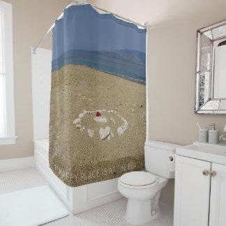 Mein glücklicher Platz ist am Strand Duschvorhang