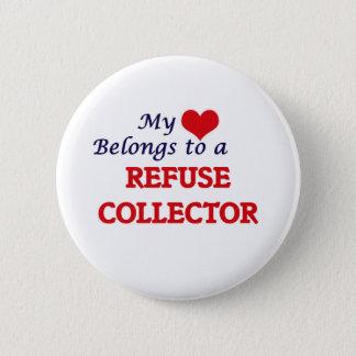Mein Herz gehört einem Abfall-Kollektor Runder Button 5,7 Cm