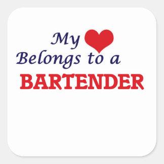 Mein Herz gehört einem Barkeeper Quadratischer Aufkleber