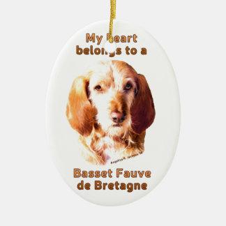 Mein Herz gehört einem Dachshund Fauve de Bretagne Keramik Ornament