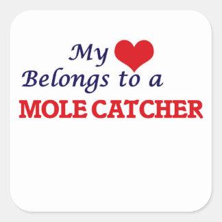 Mein Herz gehört einem Mole-Fänger Quadratischer Aufkleber