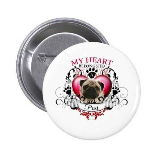 Mein Herz gehört einem Mops Button
