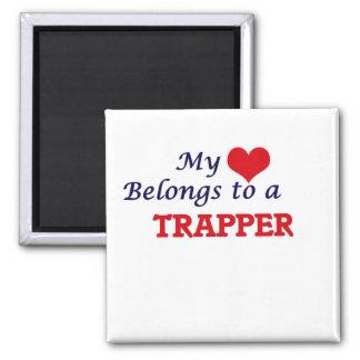 Mein Herz gehört einem Trapper Quadratischer Magnet