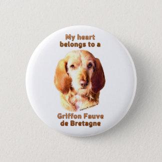 Mein Herz gehört Griffon Fauve de Bretagne Runder Button 5,1 Cm
