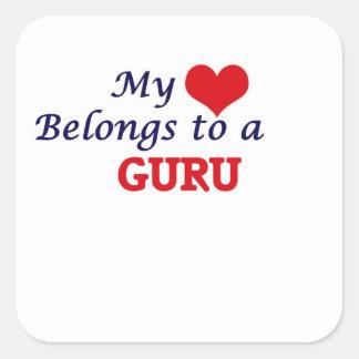 Mein Herz gehört Guru Quadratischer Aufkleber