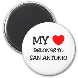 Mein Herz gehört nach SAN ANTONIO Runder Magnet 5,7 Cm