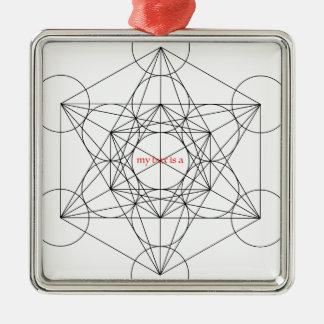 mein Kasten ist… Metatrons Würfel Quadratisches Silberfarbenes Ornament