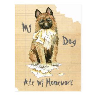 Mein Laekenois aß meine Hausaufgaben Postkarte