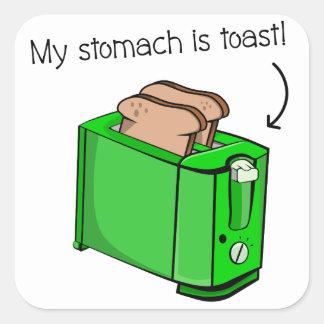 Mein Magen ist Toast Quadratischer Aufkleber