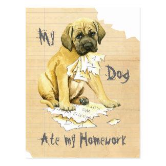 Mein Mastiff aß meine Hausaufgaben Postkarte