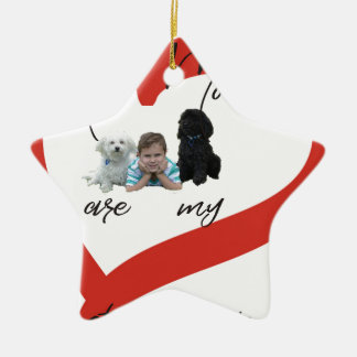 Mein Moodles sind meine besten Freunde Keramik Stern-Ornament
