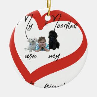 Mein Moodles sind meine besten Freunde Rundes Keramik Ornament