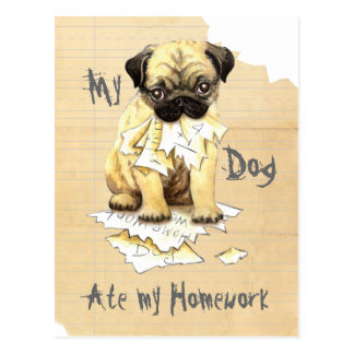 Mein Mops aß meine Hausaufgaben Postkarte