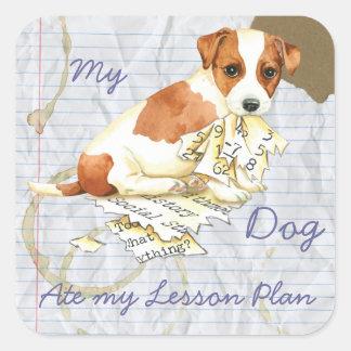 Mein Russell Terrier aß meinen Unterrichtsplan Quadratischer Aufkleber