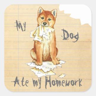 Mein Shiba Inu aß meine Hausaufgaben Quadratischer Aufkleber