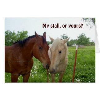 Mein Stall oder Ihr?  Valentinsgruß-Karte Mitteilungskarte