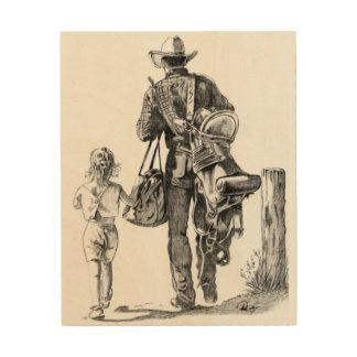 Mein Vati ist ein Cowboy Holzleinwand