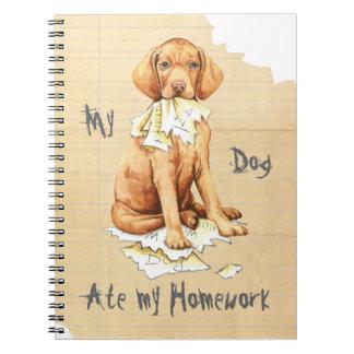 Mein Vizsla aß meine Hausaufgaben Notizblock