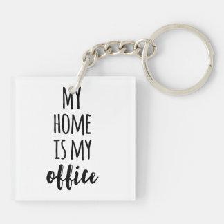 Mein Zuhause ist mein Büro Beidseitiger Quadratischer Acryl Schlüsselanhänger