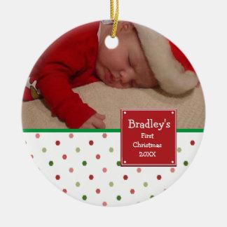 Meine 1. WeihnachtsFoto-Verzierung Rundes Keramik Ornament