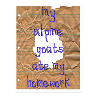 Meine alpinen Ziegen aßen meine Hausaufgaben Postkarte