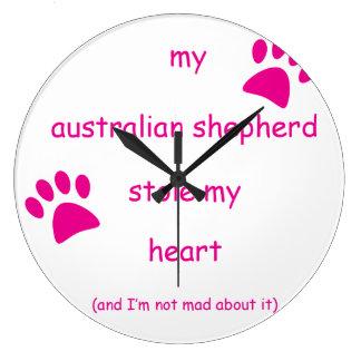 Meine Australier-Schäfer-Stola mein Herz Große Wanduhr