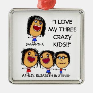 Meine drei verrückte quadratisches silberfarbenes ornament