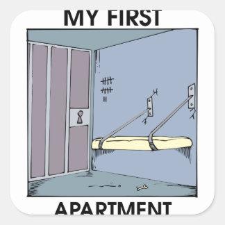 Meine erste Wohnung Quadratischer Aufkleber