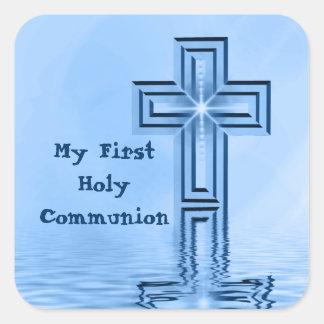 Meine ersten heilige Kommunions-Aufkleber Quadratischer Aufkleber