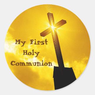 Meine ersten heilige Kommunions-Aufkleber Runder Aufkleber