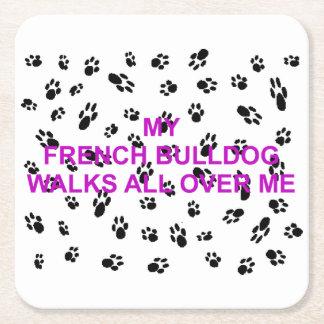 meine französische Bulldogge geht auf mich Rechteckiger Pappuntersetzer