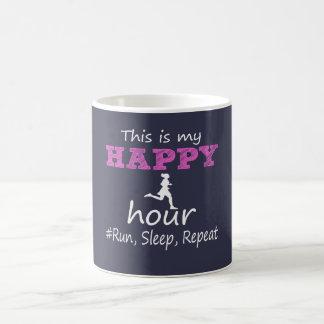 Meine glückliche Stunde! Laufen Sie, schlafen Sie, Kaffeetasse