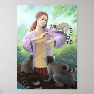Meine Lemur-Freunde - Ring-angebundene Lemurs mit Poster