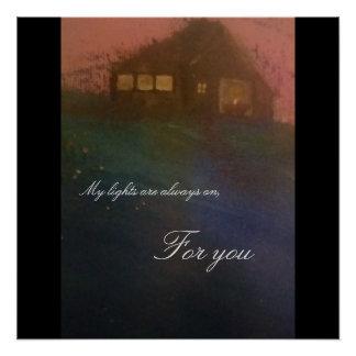 Meine Lichter sind immer an für Sie Postkarte Poster