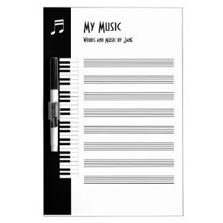 Meine Musik - Musiker-improvisiertes Musik-Brett Trockenlöschtafel