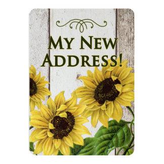 Meine neuen Adresse Mitteilung-Sonnenblumen, Retro 12,7 X 17,8 Cm Einladungskarte
